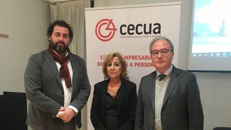Andrés Rodríguez, presidente de CECUA; Antonia Gutiérrez, vicepresidenta de CECUA; y Antonio Díaz, presidente de CECO (Confederación de Empresarios de Córdoba)