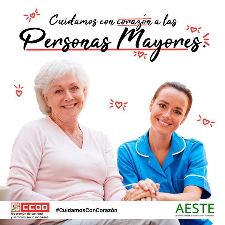 Campaña Cuidamos con Corazón de AESTE y CCOO