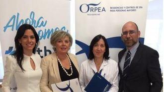 (de izq. a dcha.) Irene Serrano, directora de ORPEA Madrid Loreto; Victoria Pérez, directora Sanitaria de ORPEA; María Codesido, gerente del Hospital Vithas Nisa Pardo de Aravaca, y Francesc Llorente, director de ORPEA Madrid Aravaca.