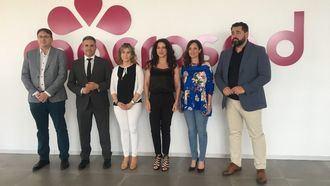 José M. Muñoz, Antonio Sutil, Toñi Aguilar, Rocío Ruiz, Maribel Lozano y Andrés Rodríguez, en el Edificio Big Bang de la cooperativa Macrosad