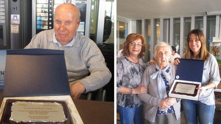 El Centro Residencial Sanitas Mevefares en Salamanca celebra dos cumpleaños centenarios