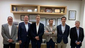 De izq a der. Sergio Pascual (UTCEE), Albert Campabadal (CEDDD), Ferran Bel (PDECAT), Cristian Rovira (CONACEE), Albert Campabadal Blanco (CEDDD) y Pere Forga (USO-FEUSOC).