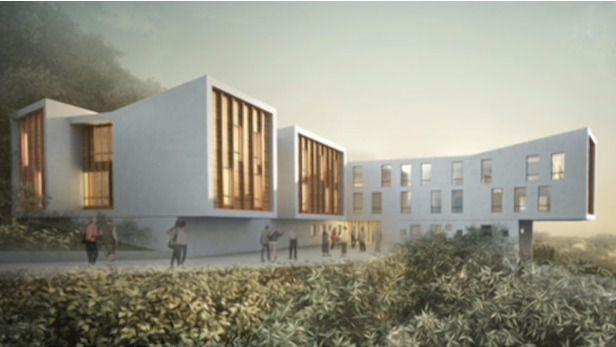 Arquitectura y Residencias: Un centro con una vista espectacular y una fachada futurista en Francia