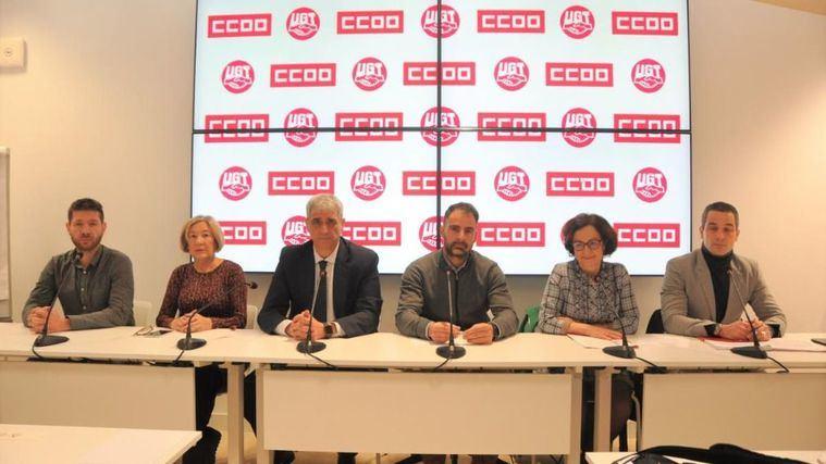Rueda de prensa de CCOO y UGT anunciando movilizaciones en el sector de la Dependencia.