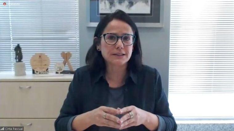 La presidenta de CEAPs, Cinta Pascual, durante una rueda de prensa por videoconferencia.