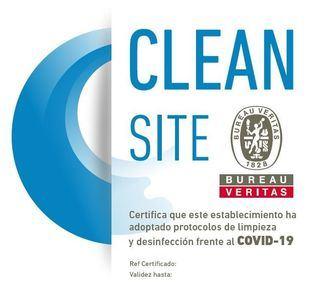 Certificado Clean Site, edificio protegido contra el covid 19, emitido por Bureau Veritas.