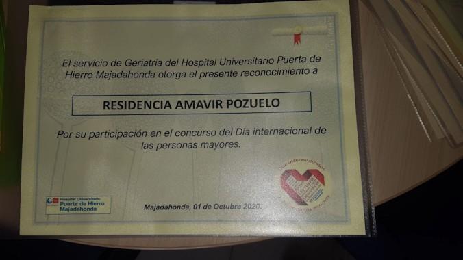 Los residentes de Amavir Pozuelo ganan el concurso de relato corto del Hospital Universitario Puerta de Hierro.