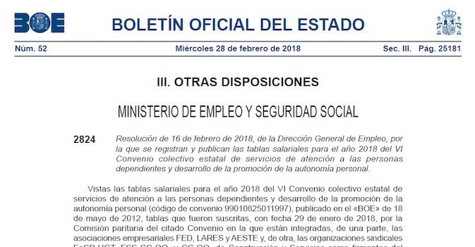 Publicadas en el BOE las tablas salariales de 2018 del Convenio Colectivo