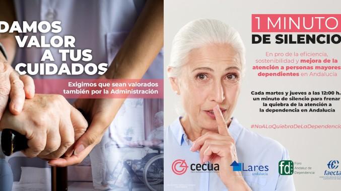 """Gran seguimiento de la campaña """"1 minuto de silencio"""" convocada por las organizaciones patronales del sector de la dependencia CECUA, LARES ANDALUCÍA, FADE Y FAECTA."""
